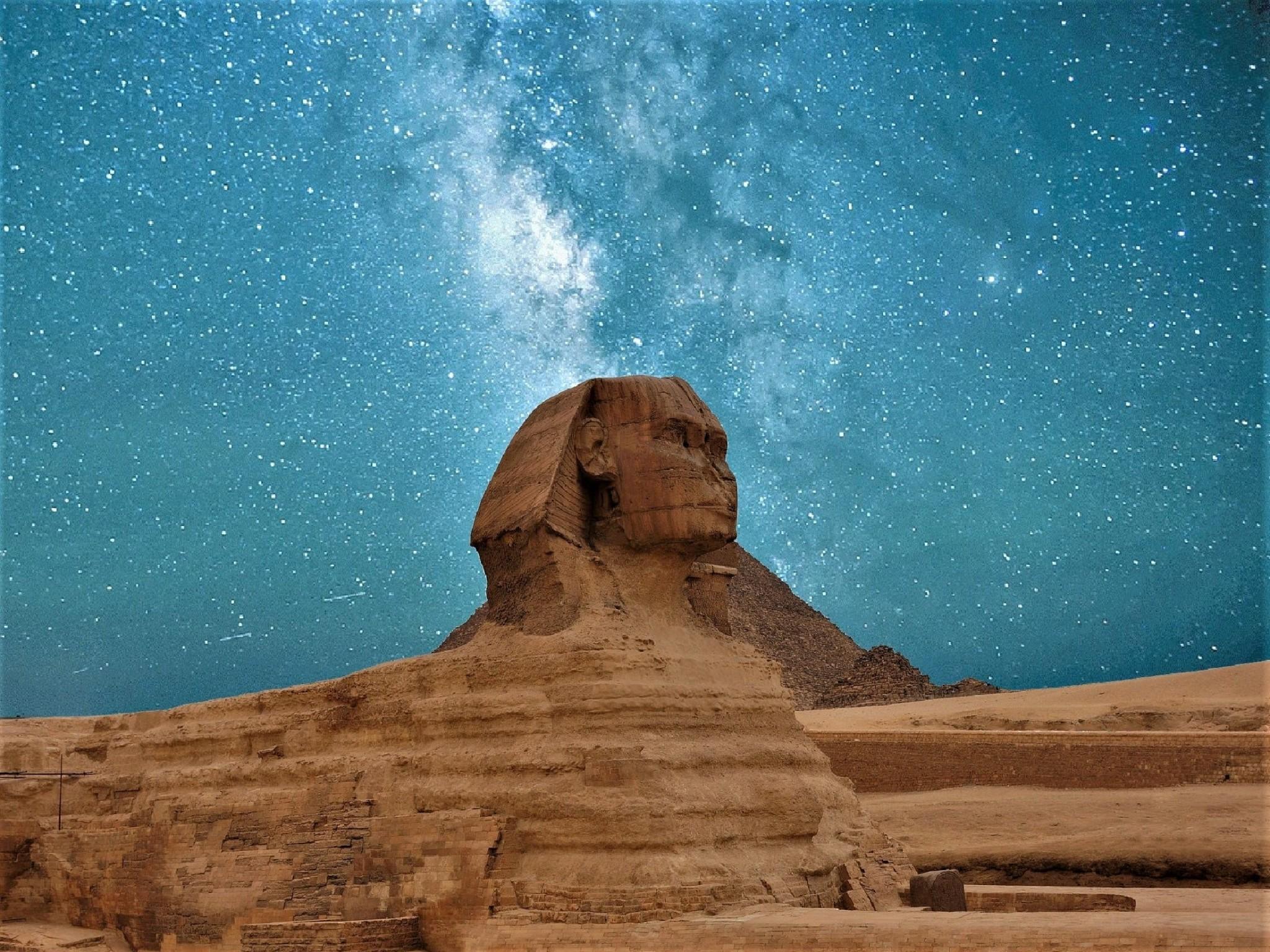 Egyptian sphinx gazing into a starry night sky.