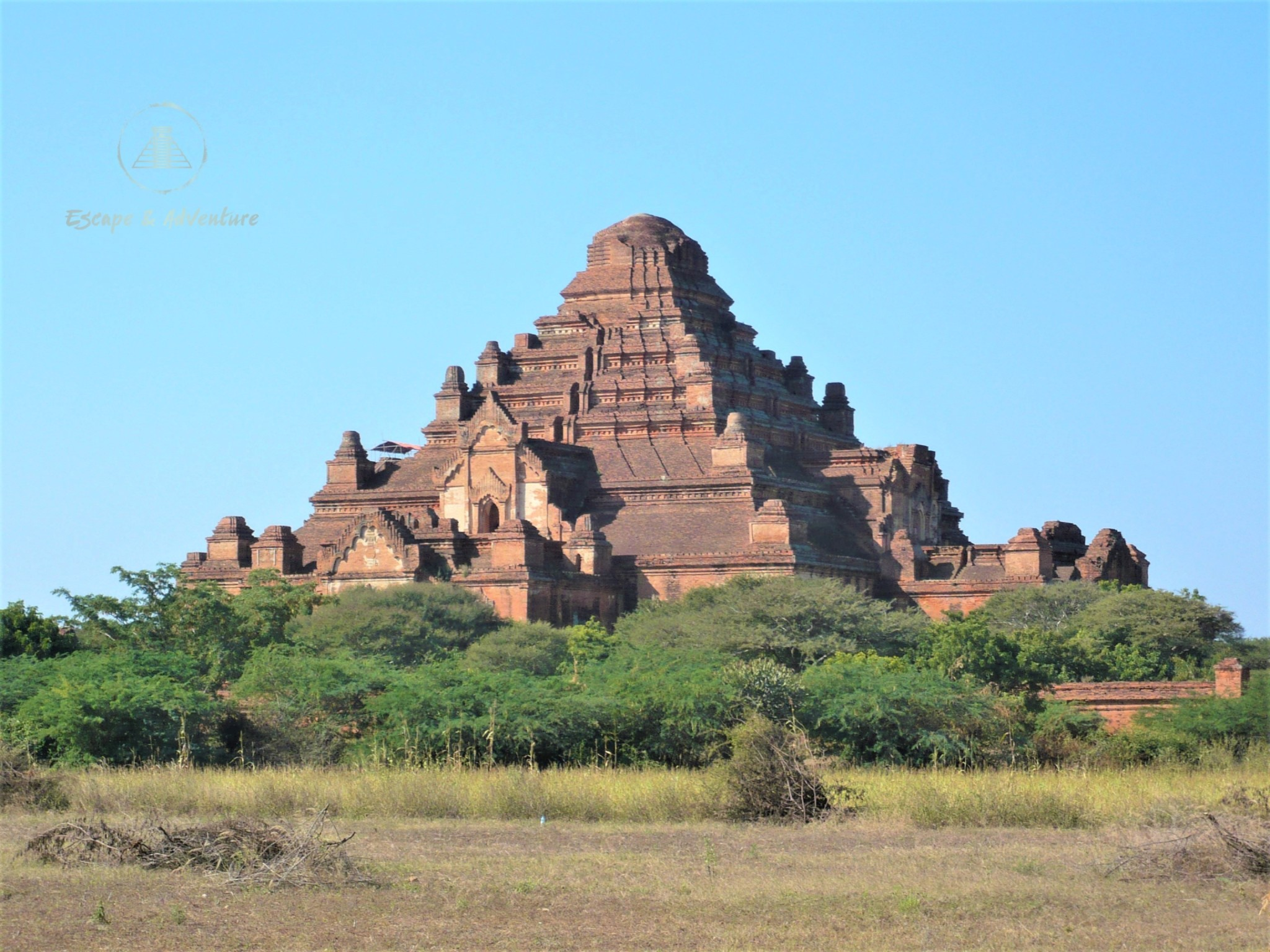 Pyramid-shaped temple situated on the plains of Bagan, Myanmar.