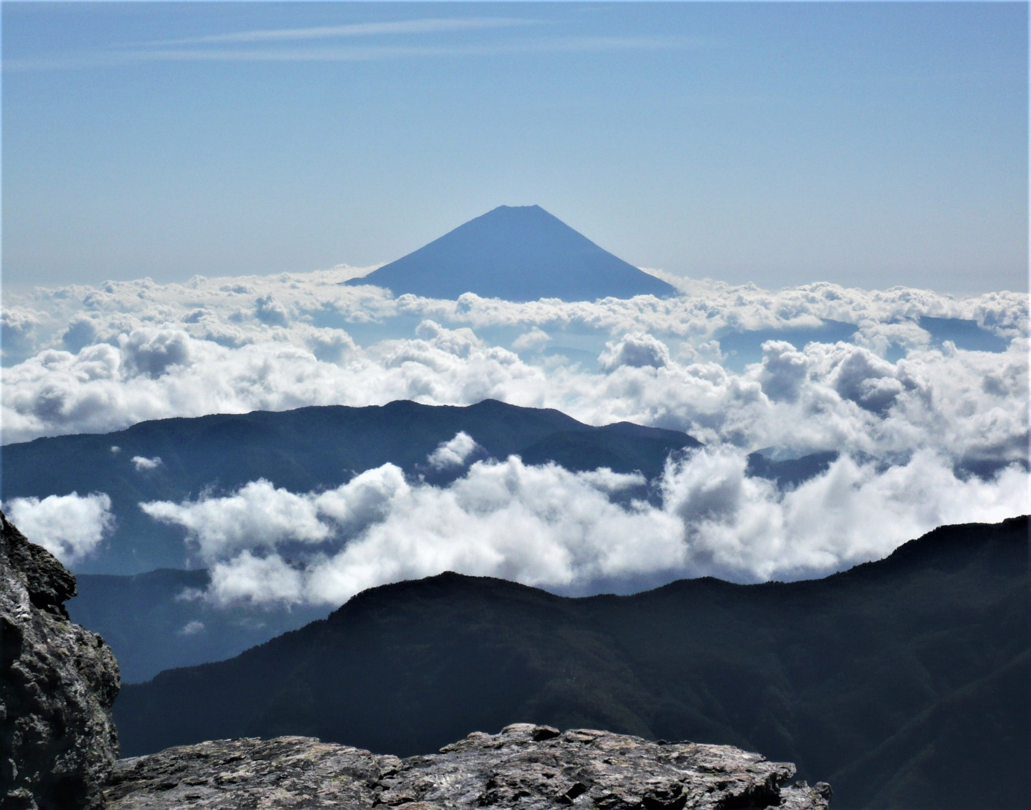 Mount Fuji rising out of a sea of white fluffy clouds as seen from the summit of Mount Aino in the Japan Alps.