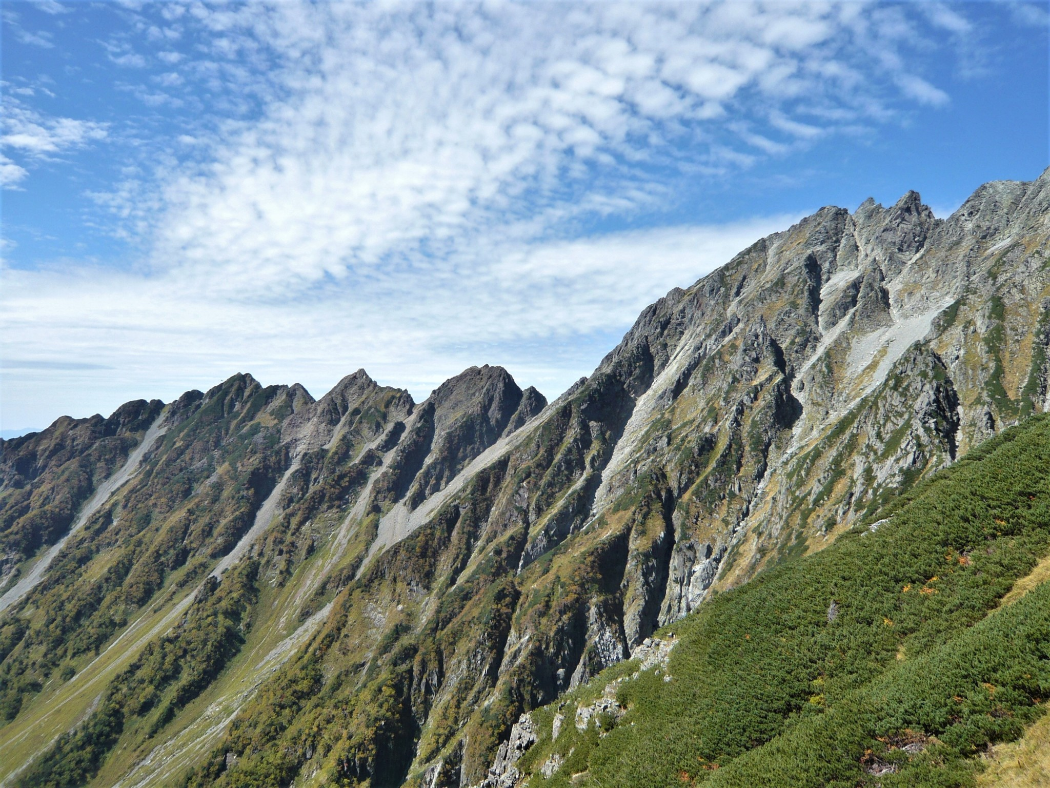 The jagged contours of a mountain ridgeline shaped like Godzilla's back beneath a partially cloudy sky in the Japan Alps.