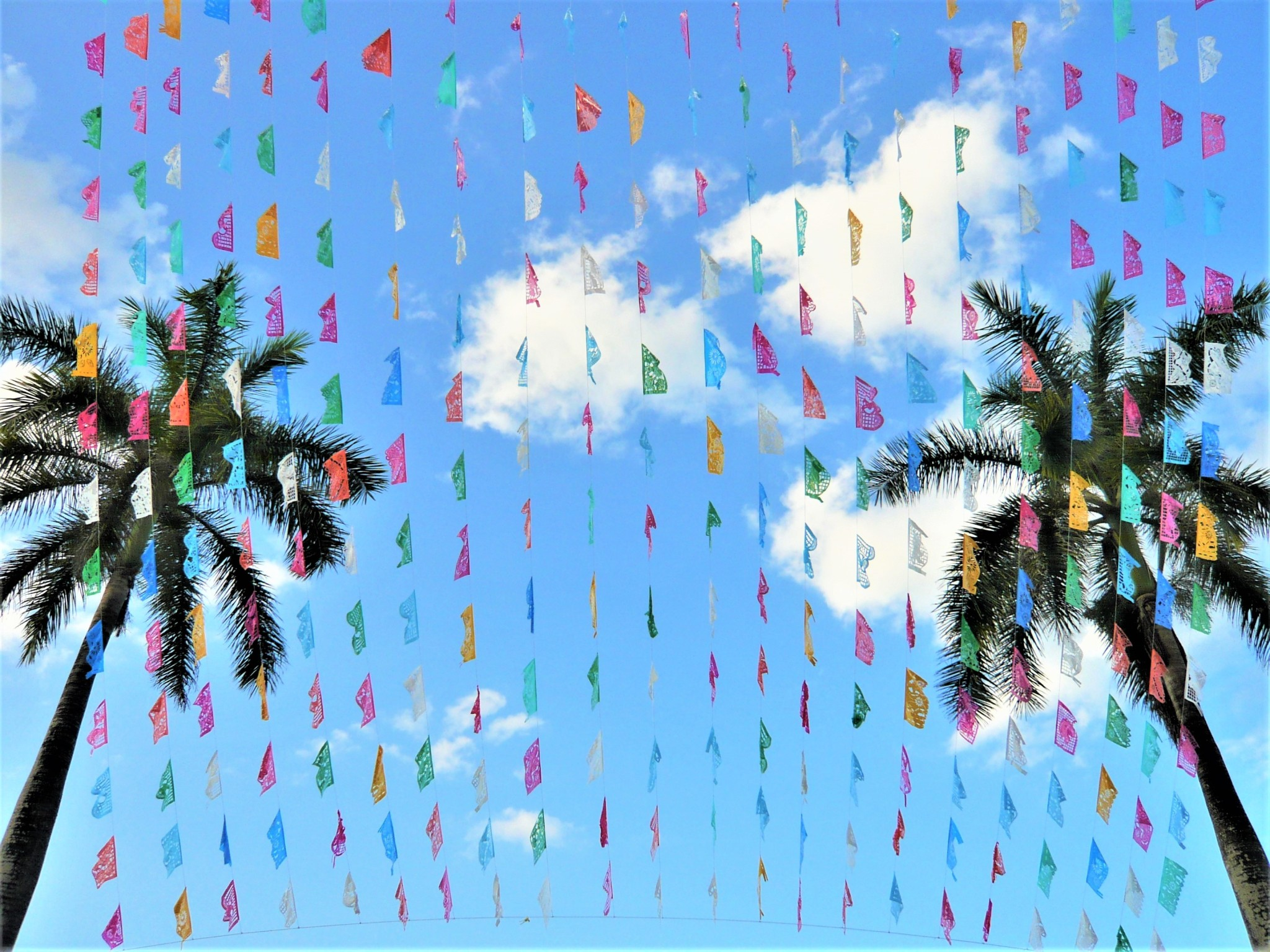 Colourful streamer decorations and two palm trees set against a blue sky at a local Mexican festival.