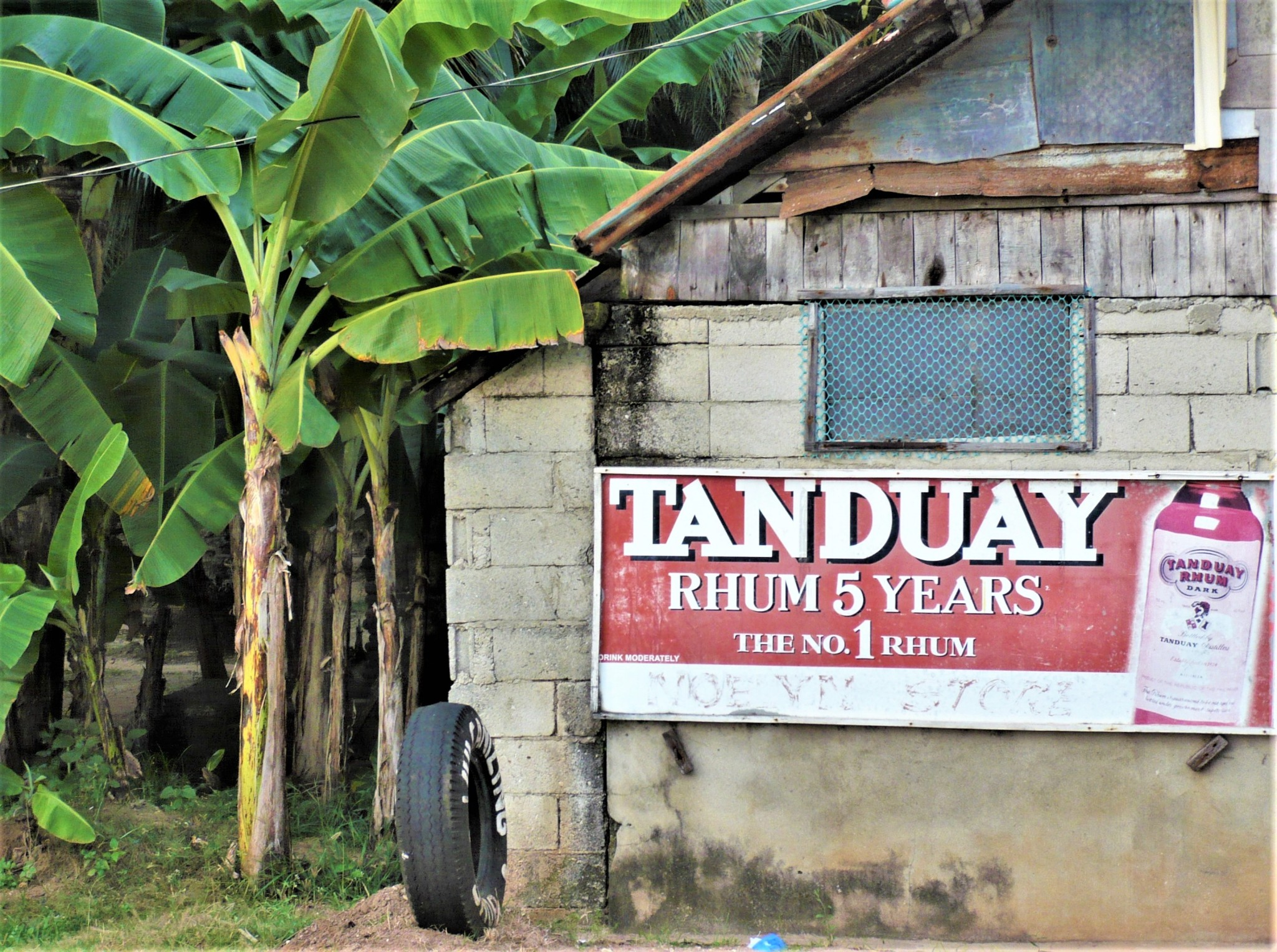 A rustic building featuring a red advertising hoarding situated next to a grove of tropical trees in the Philippines.
